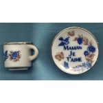 Miniature Porcelain Cup Saucer Collectibles Maman