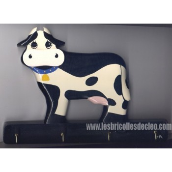 Key Holder Cow Wood Wall Plaque Handmade