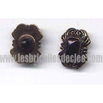 Plastic Buttons Black Gold Antique Shank D4116