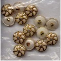 Buttons White Lilac Grey Pearl Gold Shank 31 D4417