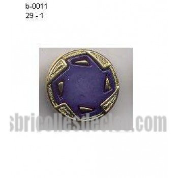 29 Plastic Buttons Gold Purple Center Shank