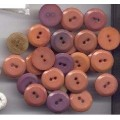 27 Plastic Buttons Peach Purple 2 Holes