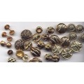 32 Vintage Plastic Buttons Gold Mix Design
