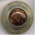Buttons Plastic Gold Rim Tiger Eye Center Shank B-0056