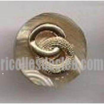 89 Plastic Buttons Oyster Rim Gold Center Shank