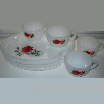 Federal White Milk Glass Rosecrest Snack Set Plate Cup