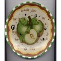 Decorative Plate Painted Word Apple Green White