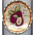 Decorative Plate Painted Word Plum Green White