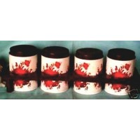 Metal Tins Containers Plastic Rack Red Flowers