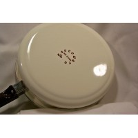 White Levcoware enamelled steel skillet yellow floral