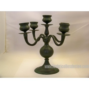 Cast Iron Candle Holder Verdigris Finish
