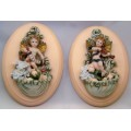 Peach wood frame Oval Cherub