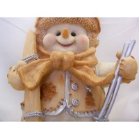 Snowman Holding Skis and Ski Poles unbranded decoration