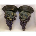 Pair of wall brackets or appliques with bunches of grapes