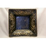Embossed square metal decorative bowl