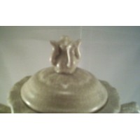 Decorative Urn Vase Sage Green Crackle Ceramic