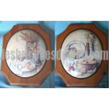 Oval Wall Plaques Wood Raised Center Set 2 Vintage