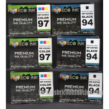 HP 94 97 Black & Tri-Color Ink Cartridge Combo (6)