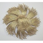 Monet Textured Starbust Design Brooch Gold Pin