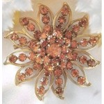 Judy Lee Starburst Amber Rhinestone Brooch Pin