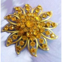 Broche Judy Lee Galaxie Ambre Pierres du Rhin