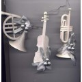 White Christmas Ornaments Vintage Violin