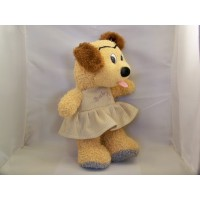 Peluche Chien Fille Beige Animal Rembourré 14""