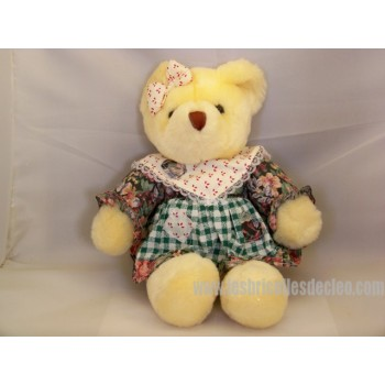 Plush Teddy Bear Girl Padded Animal Yellow 12